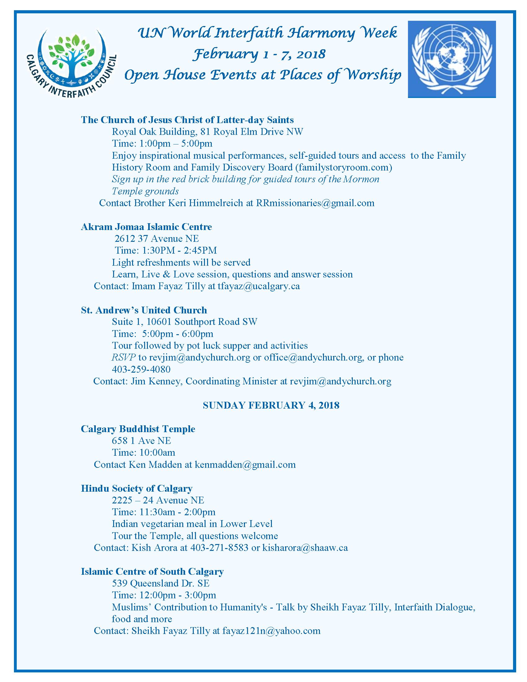 World Interfaith Harmony Week - Calgary Interfaith Council